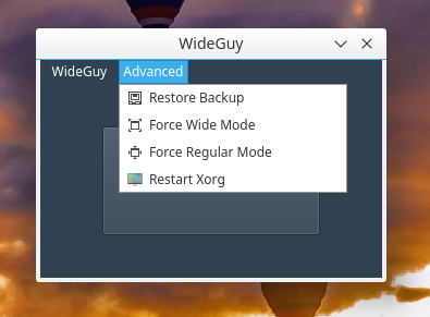 WideGuy Advanced Menu